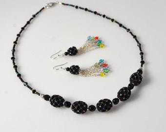 Black and rainbow - beadwoven jewelry set with colorful beads