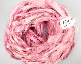 Sari silk ribbon, Recycled Silk Sari Ribbon, Silk Sari ribbon, Pink sari ribbon, Tassel supply, weaving supply, knitting supply
