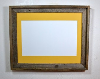 Reclaimed wood picture frame with mat for 11x17 ,12x18,11x14 or 12x16 ready to ship