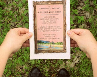 pkg 50 wes anderson inspired The ROYAL MOONRISE watercolor wedding invitations reception cards beach lake outdoor retro 1960s FREE Shipping!