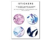 Designer Sticker Set - (12) Stickers / Marble / Brushstroke / Stocking Stuffer / Gift