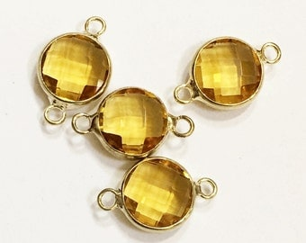 4 pcs of  Glass faceted round with  brass setting 16x10mm yellow  , glass connector 1/1 loop gold tone brass setting