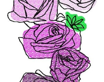 Roses Machine Embroidery Design by Letzrock  3114