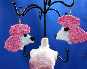 Pink Poodle, crochet earrings