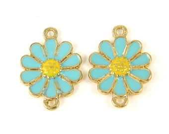 2 Pcs Aqua Yellow Gold Flower Jewelry Connector Double Enamel Daisy Loop Link  B5-3 2