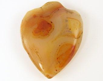 Large Carnelian Pendant, Carnelian Gemstone Pendant, Carnelian Heart Pendant |CO3-7|1