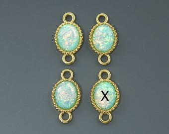 Aqua Gold Jewelry Link Faux Dichroic Glass Opalescent Connector Double Loop Finding for Earrings Bracelet  B2-8 3