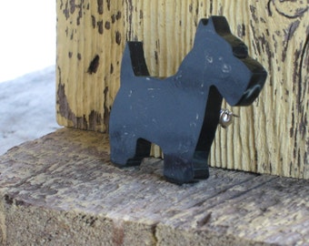 Vintage Scottie Dog Pin Scottie Dog Brooch - Vintage Jewelry - Black Scotty Dog - Black Marbled Plastic(1982-W)