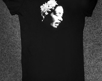 Billie Holiday, from our collection of iconic Jazz musician T shirts.