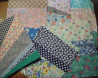 Six Different Vintage Antique Fabric String Pieced Cotton Quilt Blocks