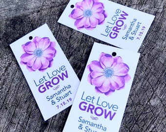 Let Love Grow Anemone Modern Gift Tags - Daisy Wedding Favor Tag - Wedding Gift Tags - Plant Thank you - Hang tags - Set of 50
