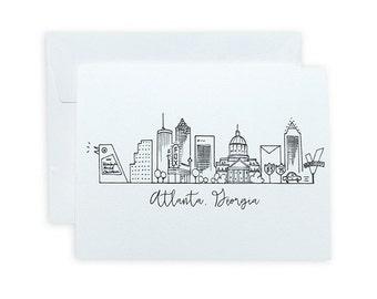 Atlanta, Georgia Skyline Map Notecard Set