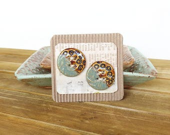 Stoneware Ceramic Buttons - white Clay, multicolored, textured - Set of 2