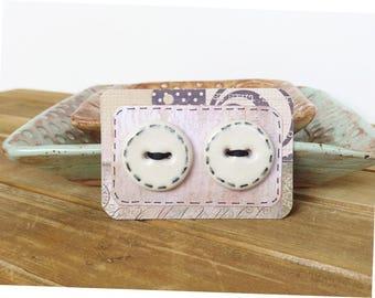 Round White Stoneware Buttons - hand drawn stitching  - Set of 2