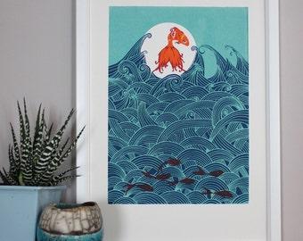 A4 Seven more fish for luck (larger original screenprint)