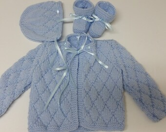 Baby Boy Sweater Set, Hand Knitted Baby Boy Sweater Hat Booties, 0-3 months, Blue, Baby Shower Gift, Christening, Baptism