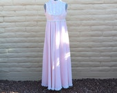 Vintage Denise Are Here 70s Pink Swiss Dot Prairie Maxi Dress Sz XS