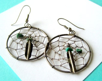 Vintage Sterling and Turquoise Dreamcatcher Earrings