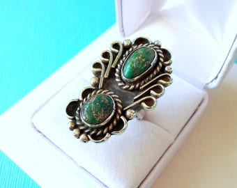 Jumbo Navajo Turquoise and Sterling Ring Size 5.75