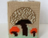 Mushroom Boutique Tissue Box Cover. Needlepoint Tissue Box Cover.  Plastic Canvas Cover with Mushroom Design. Home Decor. Gift for Her