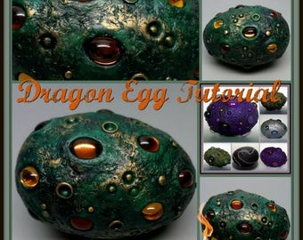 EasterSale Dragon Egg,  A Polymer Clay PDF Tutorial, Decorated Egg Paperweight