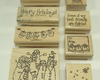 Flaky Friends Wood Mounted Rubber Stamp Set From Stampin Up Snowman Snowmen