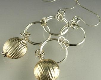 Sterling Silver Long Dangle Statement French Hook Earrings