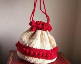 40% SALE Vintage crochet pouch purse / Valentine date purse / red and ivory, popcorn stitch, pom poms