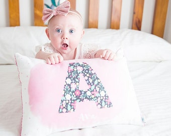 Floral Initial Girls Personalised Cushion