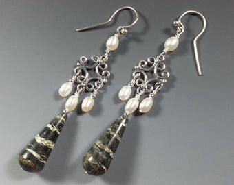 Striking Long Green Zebra Jasper and Sterling Silver Earrings with Pearls