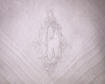 Vintage Hanky for a Gentleman with a White Embroidered Initial K - Hankie Handkerchief