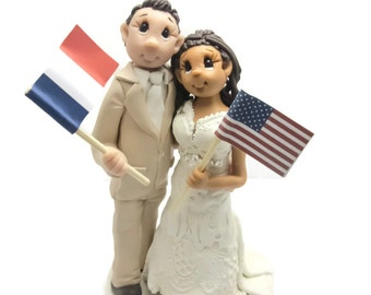 Custom cake topper,  Different Nationalities cake topper, Bride and Groom cake topper, Mr and Mrs cake topper, personalized cake topper