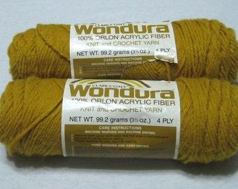 2 Skeins Vintage Wondura Yarn Gold