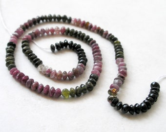 Mini Tourmaline Beads Multi Color Watermelon Tourmaline Saucer Rondelle Gemstone Beads For Beaded Jewelry Making