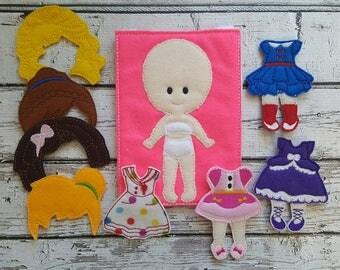 Felt Dress Up Doll Set * Playtime * Clothing * Hair * Storage Bag * Girl Gift * Birthday Present * Easter Gift * Pretend Play
