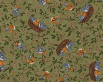 Moda Makin New Friends Fabric 1 Yard Green Birds
