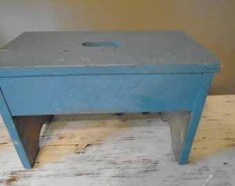 Large primitive distressed shabby chic robin's egg blue step stool