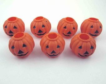 Vintage Orange Jack O Lantern Plastic Halloween Containers Party Goods Decorations Set of 7