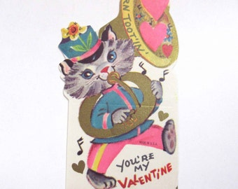 Vintage Unused Children's Novelty Valentine Greeting Card with Cute Cat Playing French Horn Musical Instrument
