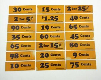 Vintage Orange and Black Store Price Tags Set of 21 Lot B