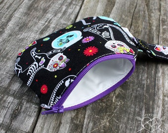 Waterproof Mouth Guard Case Roller Derby Skelekitty Day of the Dead Zipper Closure Ready to Ship