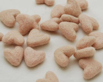 3cm 100% Wool Felt Hearts - 10 Count - Peach Pink