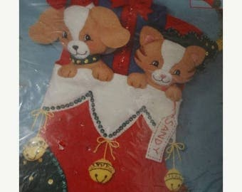 1994 Bucilla Furry Friends Stocking Christmas Felt Applique Kit 83283 - Kitten,Puppy, Best Friend, Candy Cane, Kitty Cat, Woof, Monogrammed