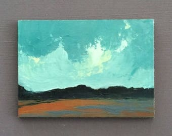 ACEO 1730, 0il painting original landscape, ACEO, miniature art, 100% charity donation, oil painting on cardboard