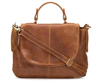 Leather Shoulder Bag, Purse, Tan