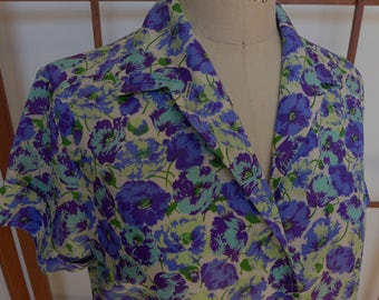 Vintage 50s Blue Floral Silky Rayon Blouse - Large