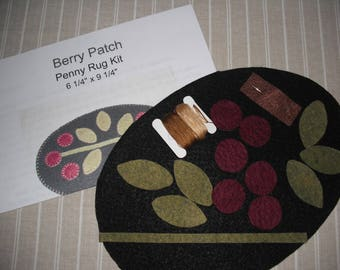 Wool Penny Rug Sewing KIT -Berry Patch -  Easy- Finish in One Day