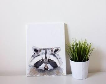 Rhubarb the Raccoon, Raccoon Art, Raccoon Painting, Raccoon Portrait, Woodland Animal Art, Woodland Decor, Woodland Wall Decor