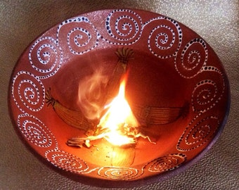 Brigid's Burning Bowl for Imbolc & Smudging Ceremony Micaceous  Clay Pottery from Taos, New Mexico