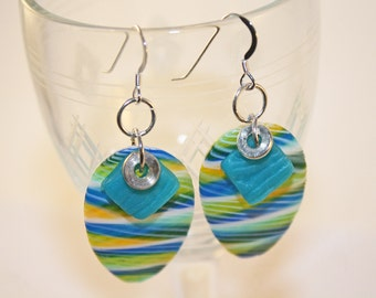 Translucent Blue and Green Earrings